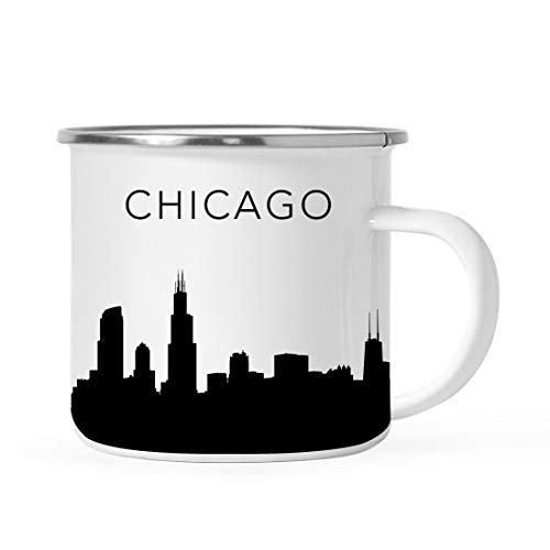 Andaz Press 11oz. Tourist Travel Souvenir Stainless Steel Campfire Coffee Mug Gift, Chicago Skyline, 1-Pack, Enamel Camping Cup Christmas Birthday Study Abroad Graduation, Includes Gift Box