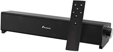 Soundbar, Foxnovo Bluetooth Sound Bars with Remote Control Wireless & Wired Soundbar for TV 20W Portable Soundbar Home Theater Speaker for TV (Two Speakers)