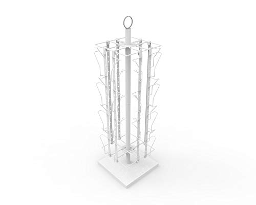 FixtureDisplays Up to 9.9'' Wide 16 Adjustable Pockets Display Rack, Greeting Post Card Christmas Holiday Spinning Rack Stand 11602-WHITE-NPF