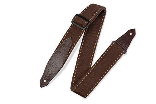 """Levy's Leathers 2"""" Heavy-weight Guitar Strap with Contrasting Woven Border, Cowboy Boot Design Leather Ends; Brown (MSSC80-BRN) from Levy's Leathers"""