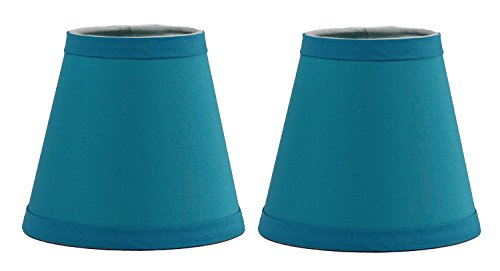 Urbanest Set of 2 Teal Cotton Chandelier Lamp Shade, 3-inch by 6-inch by 5-inch, Hardback, Clip On (Fabric Chandelier Shade)