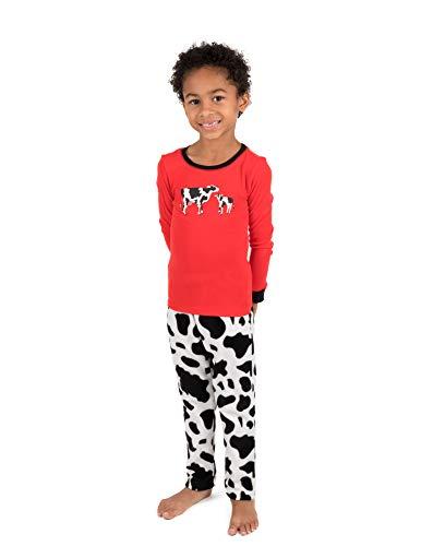 Leveret Kids Pajamas Boys Girls Fleece & Cotton 2 Piece Pajama Cow (Size 6 -