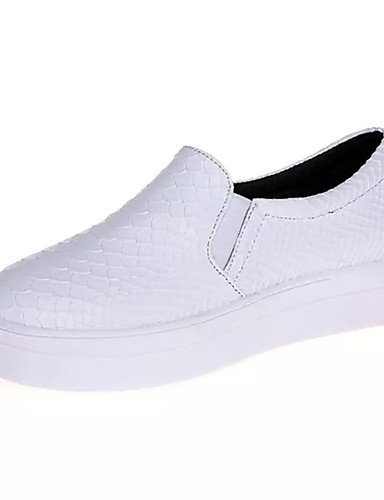 ZQ Zapatos de mujer-Plataforma-Creepers-Mocasines-Exterior / Casual / Laboral-PU-Negro / Blanco / Bermellón , white-us7.5 / eu38 / uk5.5 / cn38 , white-us7.5 / eu38 / uk5.5 / cn38 white-us8.5 / eu39 / uk6.5 / cn40
