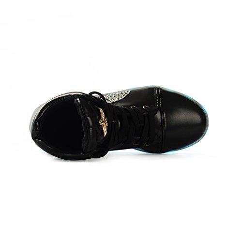 Rechargeable D'Ange LED Chaussures LED Croix Couleurs 7 Femme Lumineuse Basket USB Baskets Noir Lumière DoGeek Homme Lumineuse CqwvBc7