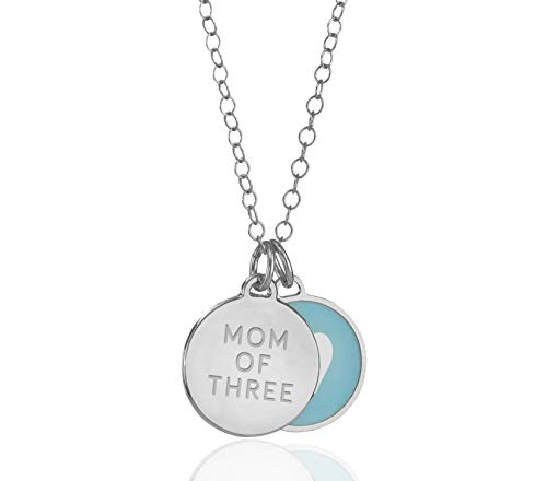 925 Sterling Silver Heart Mom of 3 Double Disc Tag Charm Pendant Necklace, 18+2