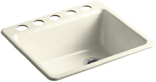 KOHLER K-5872-5UA1-FD Riverby Single Bowl Undermount Kitchen Sink with Five Holes and Bottom Basin Rack, Cane Sugar
