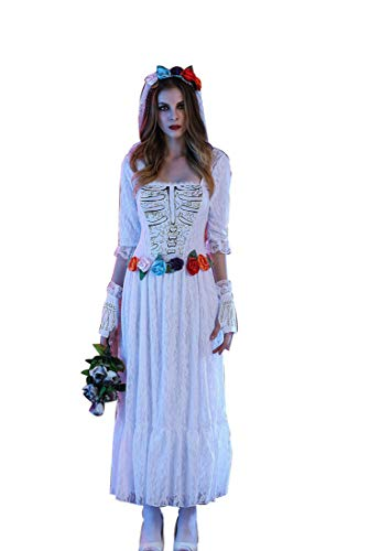 Adult Women's Halloween Skeleton White Dress Skirt Zombie, Night Field DS Stage Dress Costume Cosplay,White,L]()