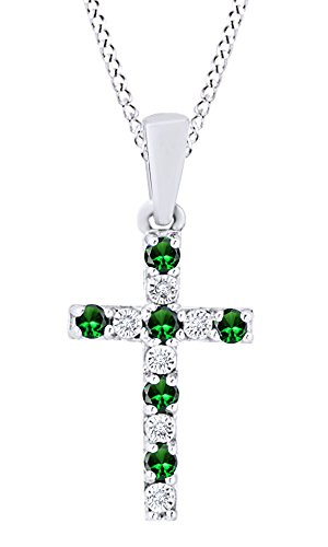 AFFY Round Cut Simulated Green Emerald Natural Diamond Cross Pendant Necklace in 14K White Gold Over Sterling Silver
