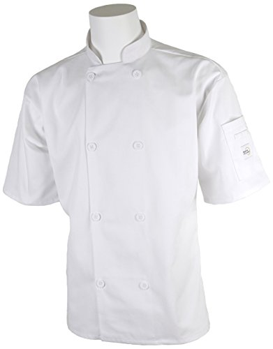Mercer Culinary M60013WHXS Millennia Men's Short Sleeve Cook Jacket with Traditional Buttons, X-Small, White