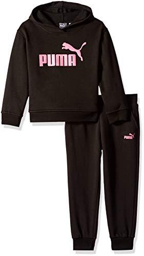 PUMA Girls' Little Fleece Hoodie Set, Black, 5