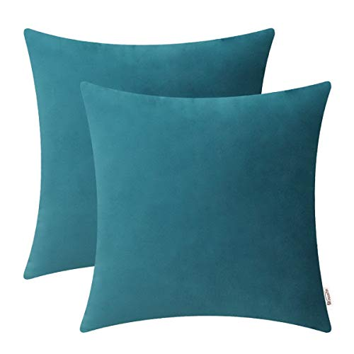 BRAWARM Cozy Throw Pillow Covers Cases for Couch Bed Sofa Solid Soft Fleece Cushion Covers Microfiber Short Velvet Pillowcases Both Sides for Home Decoration 18 X 18 Inches Teal Pack of 2