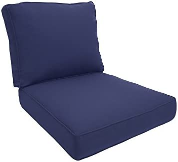 Easy Way Products Double Piped Sewn Closed Deep Seating Lounge, 26 L x 5 H x30 W, Fresco Navy