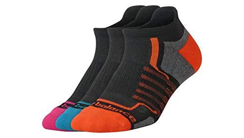 (New Balance Women's Performance Low Cut Tab Socks (3 Pack), Black/Pink/Orange/Teal, Size 6-10)