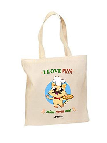 Okemaku - Tote Bag Mensaje: I Love Pizza miaumma MIA - Bolsa ...