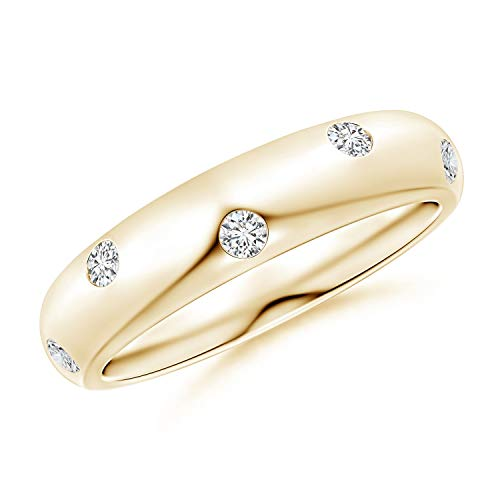 - Gypsy Set Diamond High Domed Wedding Band for Women in 14K Yellow Gold (2mm Diamond)