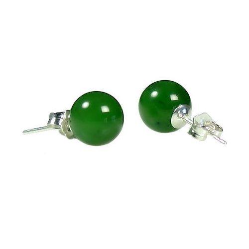 Silver Natural Green Jade Earring - Trustmark 925 Sterling Silver 8mm Natural Nephrite Green Jade Ball Stud Post Earrings