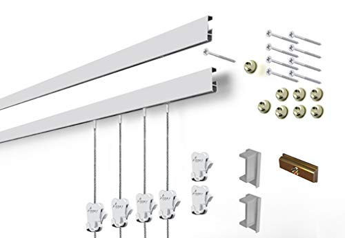 STAS Cliprail Complete Art Hanging Gallery System (4 Rails 12 Hooks and 8 Cables, Matte Silver) (Wire Silver Gallery)