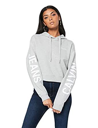 Calvin Klein Jeans Women's Crop Institutional Logo Hoodie, Light Grey Heather, XS
