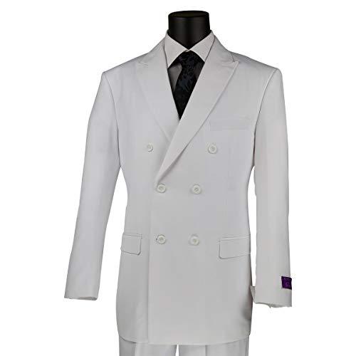 VINCI Men's Premium Solid Double Breasted 6 Button Classic-Fit Suit White | Size: 40 Regular / 34 Waist