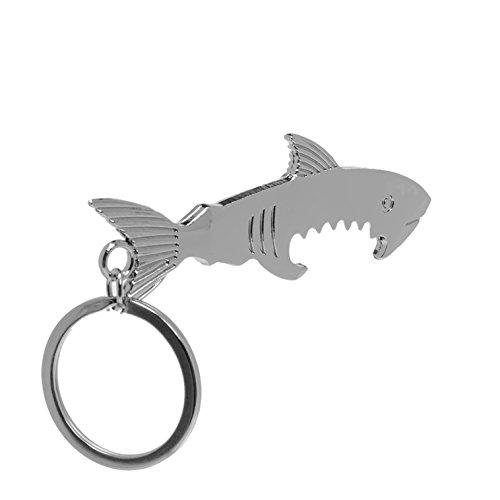 1 Set Shark Shaped Zinc Alloy Silver Bottle Opener Keychain Key Rings Chains Wrist Holder Strap Grand Popular Beer Openers Corkscrew Catcher Knife Vintage Utility Pocket (Eagle End Cap)