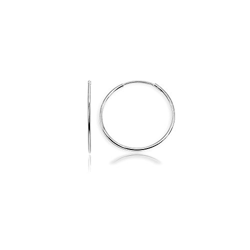 Sterling Silver Small Endless 25mm Round Thin Lightweight Unisex Continuous Hoop Earrings (25 Round Hoop Mm)