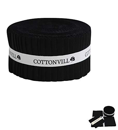 COTTONVILL Cotton Solid Precut Quilting Fabric Bundle 42 pcs, Black (2.5