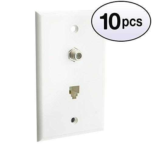 Jack Pin Hd15 (GOWOS (10 Pack) Satellite Wall Plate, White, F-pin Connector and Telephone Jack)