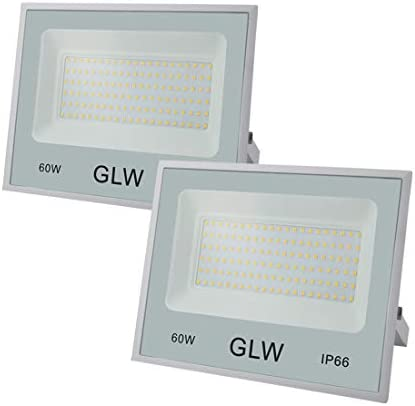 GLW 60W Flood Light Outdoor IP66 Waterproof Security Lights,6000LM 3000K Warm White LED Spotlight for Garden,Yard,Corridor and More 2 Pack