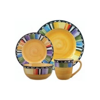 Gibson Home Fandango 16-Piece Dinnerware Set (Yellow, Multicolor)