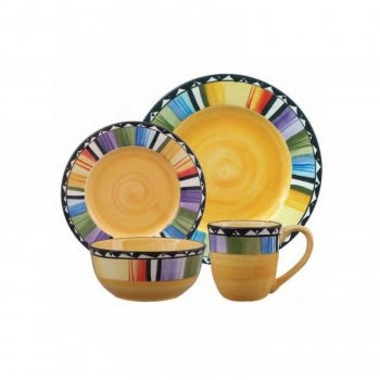 Price comparison product image Gibson Home Fandango 16-Piece Dinnerware Set (Yellow, Multicolor)