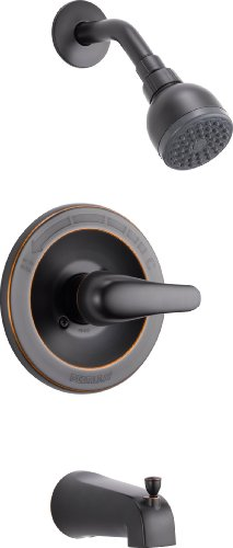 Peerless Single-Handle Tub and Shower Faucet Trim Kit with Single-Spray Touch-Clean Shower Head, Oil-Rubbed Bronze PTT188750-OB (Valve Not Included)