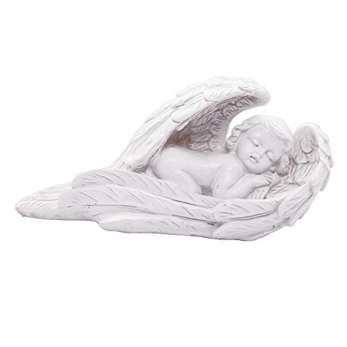 (Sleeping Baby Angel Statue Cherub in Wings Feathers Statue Figurine Indoor Outdoor Guardian Home Garden Angel Sculpture Statuette Shelf Sitter Angel Collection Angel Wings Memorial Angel Statue )
