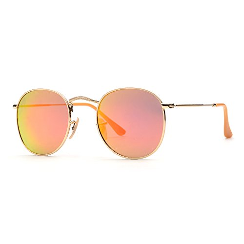 ZOGEEN Classic Metal Frame Round Circle Mirrored Sunglasses Men Women Glasses 3447 - Sunglasses Round Orange