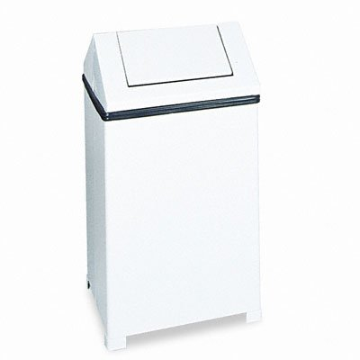 Fire-Safe Swing Top Receptacle, Square, Steel, 24 Gallon, White
