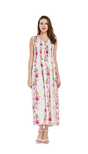 Women's Hawaiian Maxi Tank Elastic Luau Dress Pink Hibiscus Vine