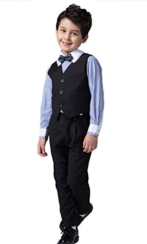 ICEGREY Boys' Boys Formal Dress Suit Set Special Occasion Clothing With Vest Suits, Bow Tie Black, 11 Years by ICEGREY