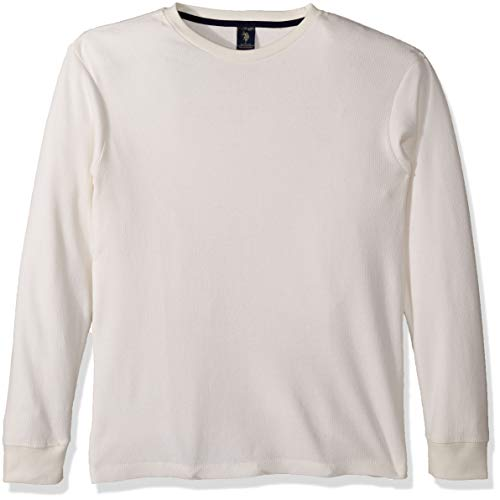 U.S. Polo Assn. Men's Long Sleeve Crew Neck Solid Thermal Shirt, White Winter, L