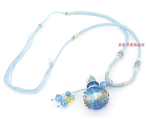 (baroque oval glass perfume bottle aroma essential oil necklace pendant chain lanugo lucky wishing collection (sky blue )