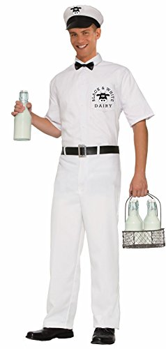[Forum Novelties Men's 50's Milkman Costume, White, Standard] (Milkman Fancy Dress Costume)