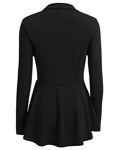 Blazer Breasted Business Outerwear Colore Fit Tailleur Lunga Confortevole Cappotto Donna Slim Schwarz Giacca Bavero Autunno Puro Da Manica Double pFXFExIq