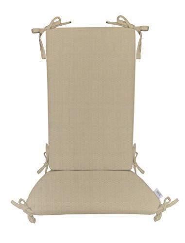 Indoor/Outdoor Sunbrella Linen Antique Beige Rocking Chair 2 Pc Foam Cushion Set ~ Fits Cracker Barrel - Linen Beige Antique