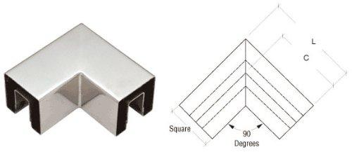 Glass Railing Cap (C.R. LAURENCE GRS15HPS CRL Polished Stainless 90 Degree Horizontal Corner for 1-1/2