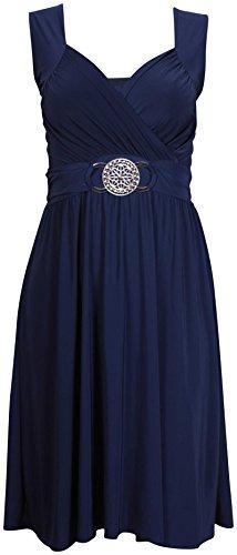 extensible boucle Marine manches sans cocktail au Femmes grande attache Purple taille Hanger Robe dos ceinture Bleu wPHnZgxY