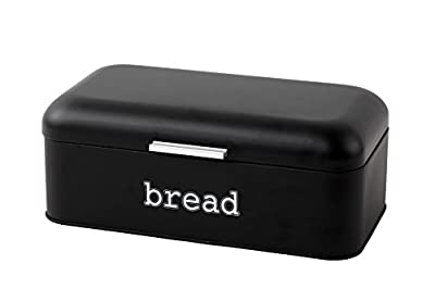 Bread Box for Kitchen - Stainless Steel Bread Bin Storage Container For Loaves, Pastries, and More - Retro / Vintage Inspired Design - Matte Black - 16.75 x 9 x 6.5 inches