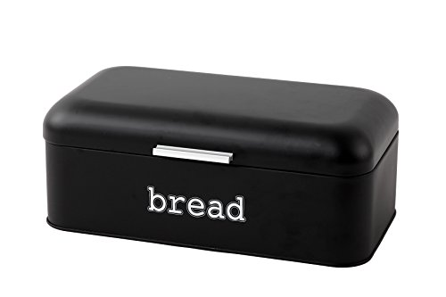 (Bread Box for Kitchen Counter - Stainless Steel Bread Bin Storage Container For Loaves, Pastries, and More - Retro/Vintage Inspired Design, Matte Black, 16.75 x 9 x 6.5 inches )