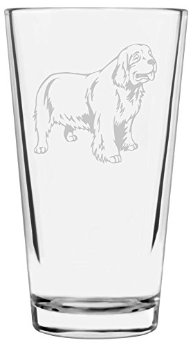 Clumber Spaniel Dog Themed Etched All Purpose 16oz Libbey Pint Glass