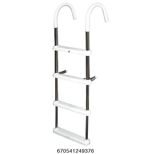 4 Step Gunwale 7'' Hook Ladder, Stainless 316 - Jif Marine