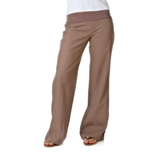 Love Tree Women's Fold-Over Waist Linen Pants, Cocoa, Small
