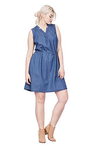 ellos Women's Plus Size Sleeveless Belted Denim Dress - Medium Blue Denim, 16