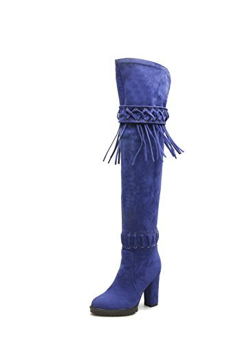 Solid Pull Women's Heels Imitated top High Blue on High AmoonyFashion Suede Boots H0xwfH